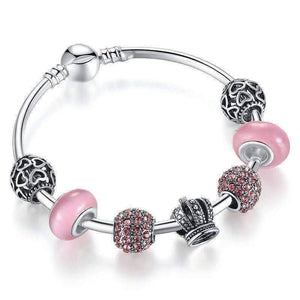 Feshionn IOBI bracelets Pink Queen of Hearts Pink Crystal Silver Bangle Bracelet