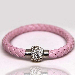Feshionn IOBI bracelets Pink Rose ON SALE - French Braid Shamballa Magnetic Bangle Bracelet