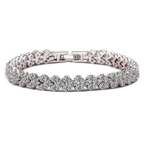 Feshionn IOBI bracelets Platinum Mosaic 90 Swiss CZ Diamonds Tennis Bracelet In Three Colors