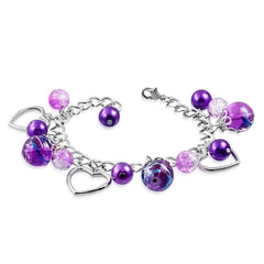 Feshionn IOBI bracelets Purple Artistic Purple Glass Bead & Silver Heart Charm Bracelet