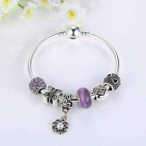 "Feshionn IOBI bracelets Purple ""Meadow"" Purple Butterfly & Hearts Silver Bangle Bracelet"