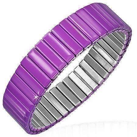 Feshionn IOBI bracelets Purple Plum Anodized Color Stainless Steel Stretch Bracelet