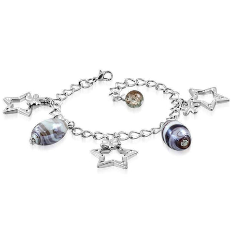 Feshionn IOBI bracelets Purple Purple Swirl Glass Bead and Stars Charm Bracelet in Silver