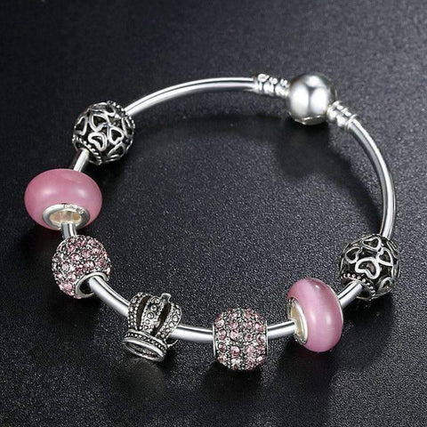 Feshionn IOBI bracelets Queen of Hearts Pink Crystal Silver Bangle Bracelet
