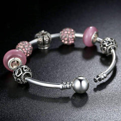 Queen of Hearts Pink Crystal Silver Bangle Bracelet