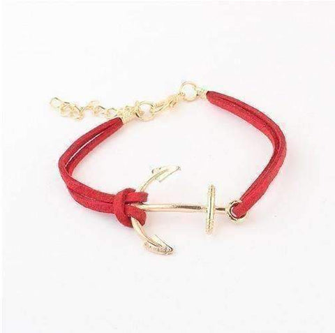 Feshionn IOBI bracelets Red Anchors Away Suede Leather Bracelet - Choose Your Color