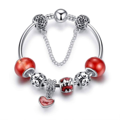 Feshionn IOBI bracelets Red Essence of Love Red & Silver Bangle Bracelet