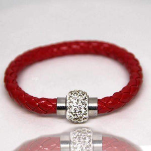 Feshionn IOBI bracelets Red ON SALE - French Braid Shamballa Magnetic Bangle Bracelet
