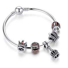 Feshionn IOBI bracelets Red ON SALE - Red Queen Crystal Crown Silver Bangle Bracelet