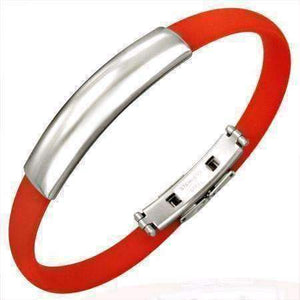 Feshionn IOBI bracelets Red Red Silicone Bracelet with Engraveable Stainless Steel Band