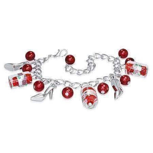 Feshionn IOBI bracelets Red Ruby Slippers Glass Bead and Shoes Charm Bracelet in Silver