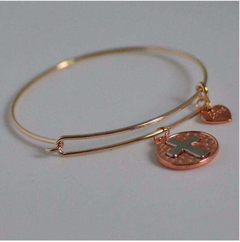 Feshionn IOBI bracelets Rose Gold CLEARANCE - Love Cross Adjustable Bangle Bracelet - Choose Your Color