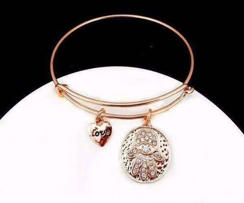 Feshionn IOBI bracelets Rose Gold CLEARANCE - Love & Protection Hamsa Adjustable Bangle Bracelet - 4 Colors