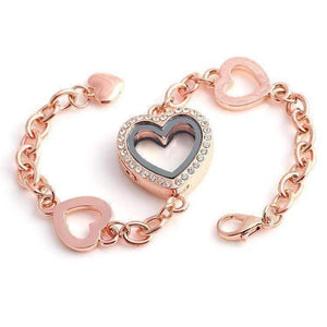 Feshionn IOBI bracelets Rose Gold Story of My Life Heart Shaped Charm Locket Bracelet - Four Colors to Choose!