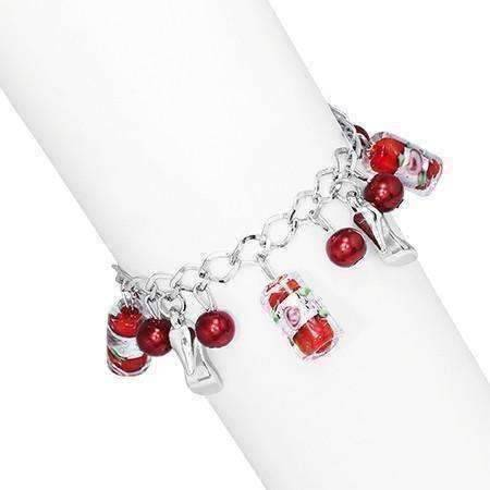 Feshionn IOBI bracelets Ruby Slippers Glass Bead and Shoes Charm Bracelet in Silver