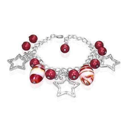 Feshionn IOBI bracelets Ruby Star Studded Glass Bead Silver Charm Bracelet ~ Four Fun Colors to Choose!