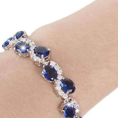 Sapphire Blue Diamonds Luxury Tennis Bracelet