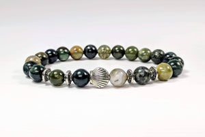 Feshionn IOBI bracelets Seashell And Moss Green Genuine Agate Gemstone Bead Bracelet