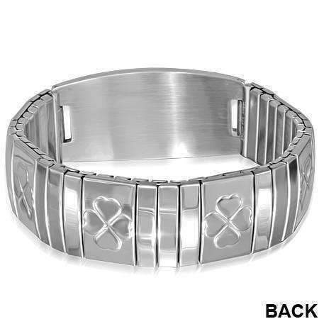 Feshionn IOBI bracelets Stainless Steel Shamrock Engravable Stainless Steel Stretch Link Bracelet