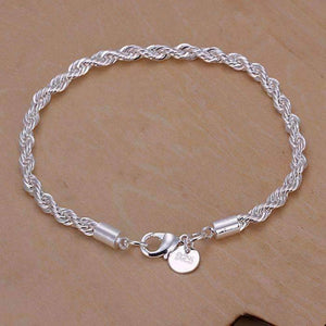 Feshionn IOBI bracelets Silver Bracelet ON SALE - Diamond Cut Rope Chain Sterling Silver Bracelet