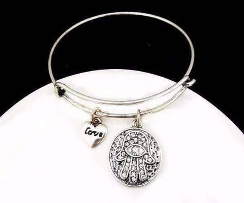 Feshionn IOBI bracelets Silver CLEARANCE - Love & Protection Hamsa Adjustable Bangle Bracelet - 4 Colors