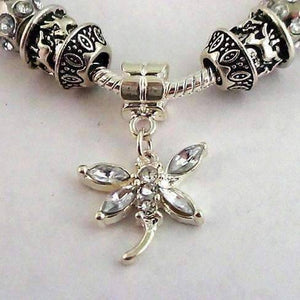 Feshionn IOBI bracelets Silver Crystal Dragonfly with Multifaceted Beads European Style 925 Silver Charm Bracelet