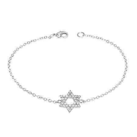 Feshionn IOBI bracelets Silver Delicate CZ Encrusted Mini Star of David Bracelet