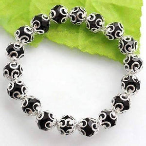 Feshionn IOBI bracelets Silver Lace with Black Crystal Stretchy Bracelet