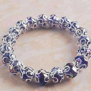 Feshionn IOBI bracelets Silver Lace with Blue Crystal Stretchy Bracelet
