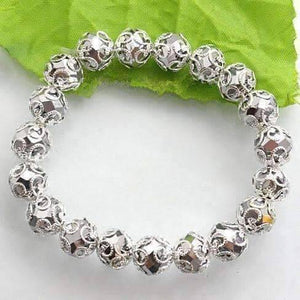Feshionn IOBI bracelets Silver Lace with Metallic Crystal Bead Stretchy Bracelet