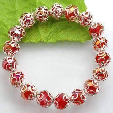 Feshionn IOBI bracelets Silver Lace with Red Crystal Bead Stretchy Bracelet