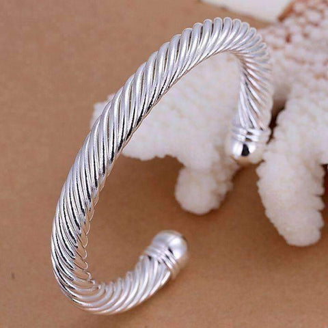 Feshionn IOBI bracelets Silver ON SALE - Swirling Silver Bold Bangle Cuff Bracelet