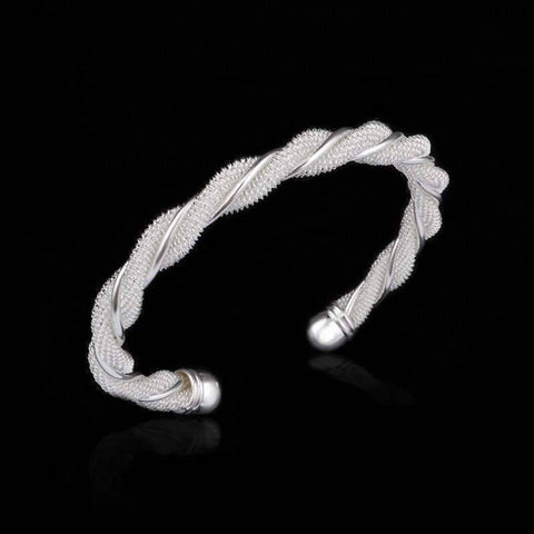 Feshionn IOBI bracelets silver ON SALE - Twisted Mesh Silver Cuff Bracelet