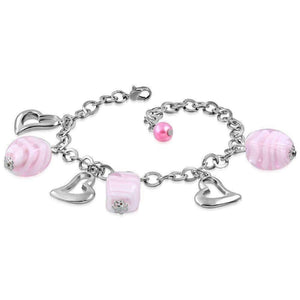 Feshionn IOBI bracelets Silver Pink Sugar Swirl Glass Bead and Hearts Charm Bracelet in Silver