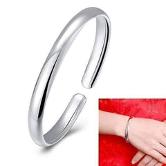 Feshionn IOBI bracelets silver Silver Smooth Cuff Bangle Bracelet