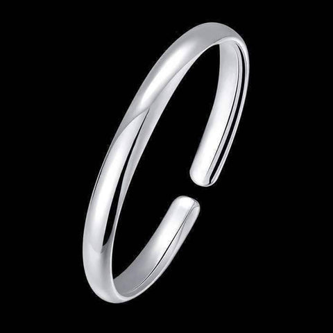 Feshionn IOBI bracelets Silver Smooth Cuff Bangle Bracelet