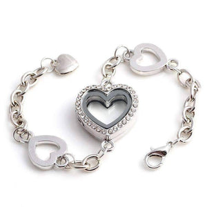 Feshionn IOBI bracelets Silver Story of My Life Heart Shaped Charm Locket Bracelet - Four Colors to Choose!