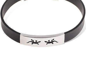 Feshionn IOBI bracelets Small Gecko Black Band Silicone Bracelet with Stainless Steel Cut Out Designs ~ Choose Your Design