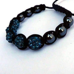 ON SALE - Sparkly Peacock Crystals Hand Made Shamballa Bracelet
