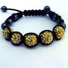 Feshionn IOBI bracelets Sparkly Crystals Hand Made Shamballa - Yellow Crystal and Hematite Shamballa Bracelet