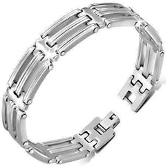 Feshionn IOBI bracelets Stainless Stainless Steel Cut-Out Men's Link Bracelet