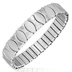 Feshionn IOBI bracelets Stainless Steel Brushed Oval Stainless Steel Stretch Link Bracelet