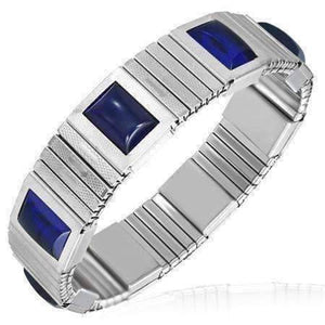 Feshionn IOBI bracelets Stainless Steel Cobalt Blue Cabochon Japanese Magnetic Therapy Stainless Steel Stretch Link Bracelet