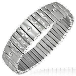 Feshionn IOBI bracelets Stainless Steel Domed Texture Bar Segment Stainless Steel Stretch Link Bracelet with CZ Accents