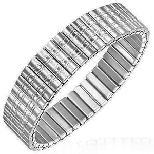 Feshionn IOBI bracelets Stainless Steel Satin Lines Bar Link Stainless Steel Stretch Bracelet