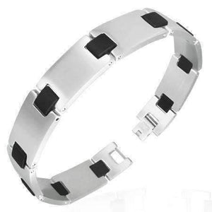 Feshionn IOBI bracelets Stainless Steel Stainless Steel Bars with Black Rubber Links Men's Bracelet