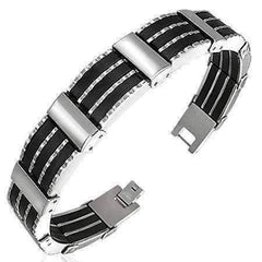 Feshionn IOBI bracelets Stainless Steel Stainless Steel Men's Bracelet with Black Rubber Tracks