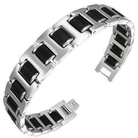 Feshionn IOBI bracelets Stainless Steel Stainless Steel w/ Black Rubber Matte Finish Panther Link Bracelet For Men