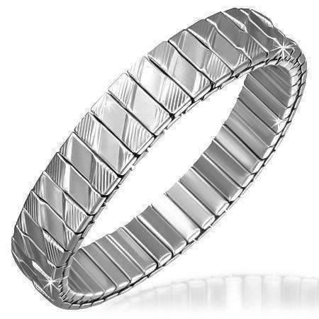 Feshionn IOBI bracelets Stainless Steel Thin Diamond Pattern Stainless Steel Stretch Link Bracelet