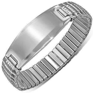 Feshionn IOBI bracelets Stainless Steel Thin Ridges Engravable Bar Link Stainless Steel Stretch Bracelet